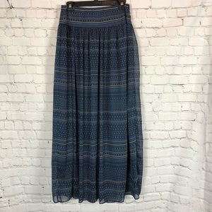 GAP Navy Blue Patterned Long Maxi Skirt